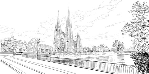 Reformed Church Saint Paul. Strasbourg. France. Hand drawn sketch. Vector illustration.