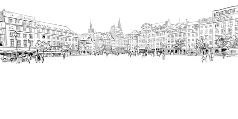 Fototapeta Kleber Square. Strasbourg. France. Hand drawn sketch. Vector illustration. obraz