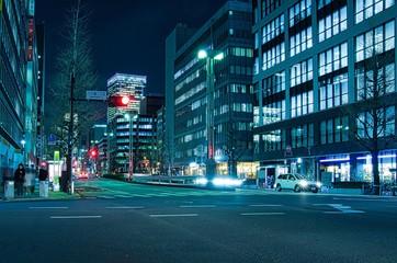 Canvas Prints Night highway Hacchobori in Tokyo at night