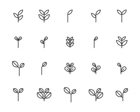 set of sprout icons, leaf, plant, nature, environment