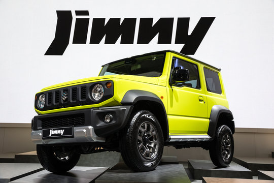 Suzuki Jimny compact 4x4 car showcased at the Paris Motor Show. PARIS - OCT 2, 2018.