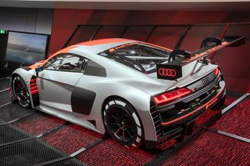 PARIS - OCT 2, 2018: New Audi R8 LMS GT3 race car unveiled at the Paris Motor Show.