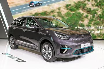 PARIS - OCT 3, 2018: Kia Niro EV electric crossover SUV car showcased at the Paris Motor Show.