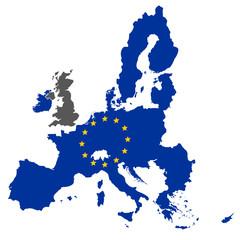 Fototapeta european union map blue color with stars without england obraz