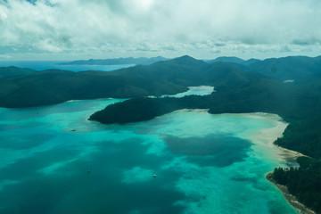 Aerial view tropical Whitsunday Islands Australia