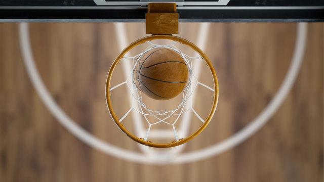 3d render Basketball ball flies into the basket top view