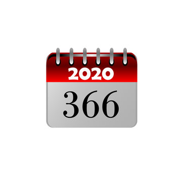 2020 leap year calendar sheet, years that are divisible by 4. logo design. 366 days.  Vector illustration