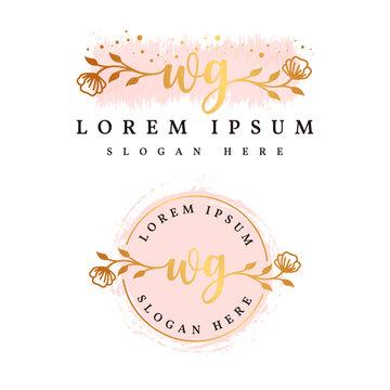 Initial wg feminine logo collections template premium vector
