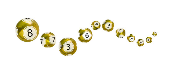 Vector golden lottery balls isolated on white background, curve line, perspective view, 3D objects.
