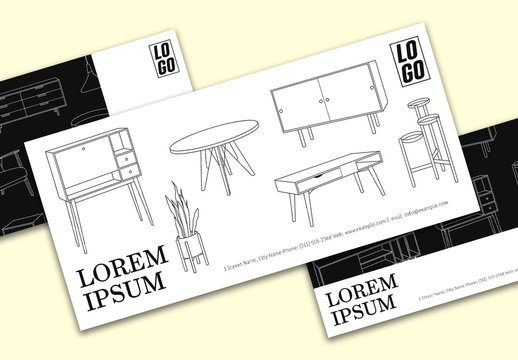 Dl Voucher Layouts with Furniture Illustrations