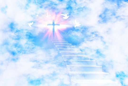 Stairs leading to the sky with cross and flying doves
