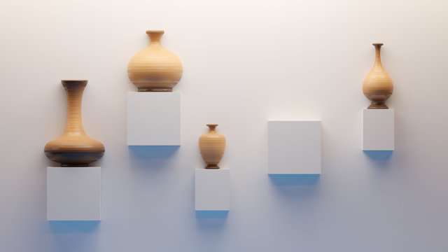3d Clay earthenware pottery vases and urns on display on plain white wall