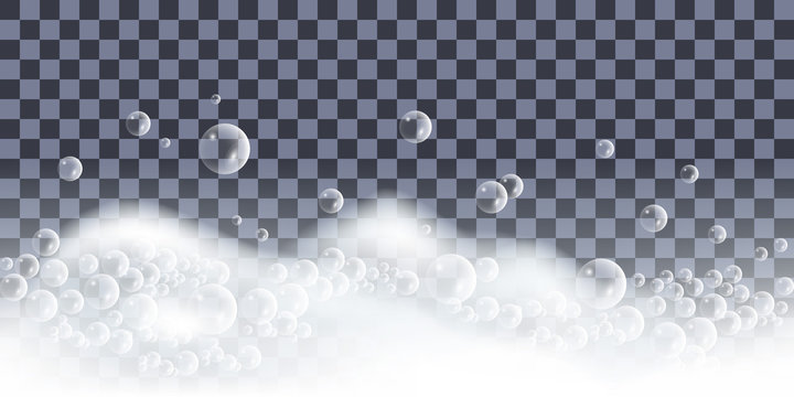 Soap foam with bubbles. Bath lather, set of isolated elements on transparent background. Vector illustration