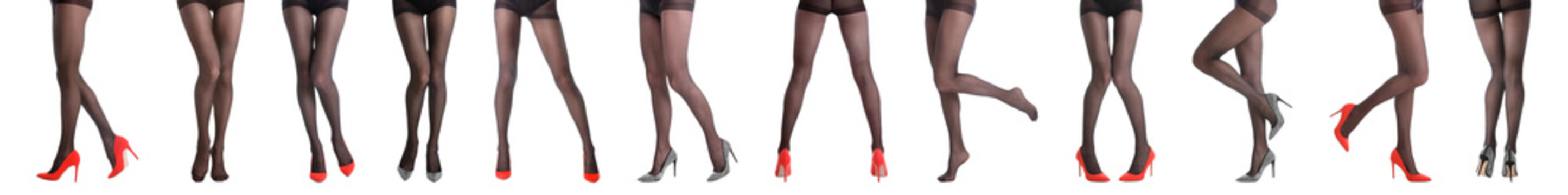 Collage of women wearing tights on white background, closeup of legs. Banner design