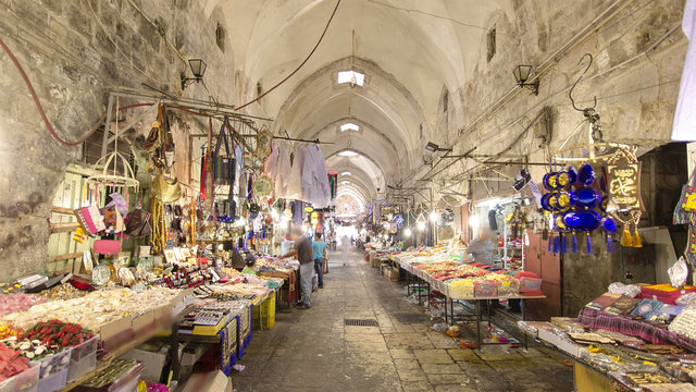 The colorful souk in the old city of Jerusalem Israel timelapse hyperlapse