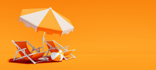 Two beach chairs with parasol on lush orange summer background 3D Rendering