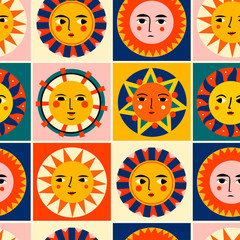 Wall Mural - Colorful abstract Suns with faces in squares. Various emotions. Ethnic style. Hand drawn Vector seamless pattern. Perfect for textile prints or for ceramic tile design