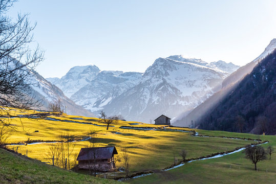 view of the alps from valley in Glarus. Todi peak with farmland and meadows front