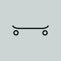 skateboard outline icon on gray background, vector symbol