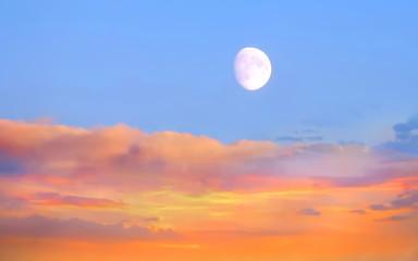 Fotorollo Rotglühen Sunset background beautiful sun and sky sunlight evening clouds on skyline nature pink yellow blue color