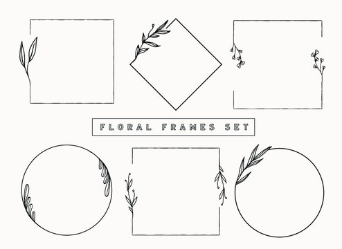 Floral frames and borders vector collection. Isolated botanical graphic elements for design projects and your creativity. Delicate circle frames for wedding invitations, posters, feminine designs.