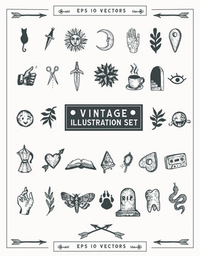 Vintage hand drawn ink vector illustration set. Isolated elements for graphic design . Vintage old school icons for your creativity.