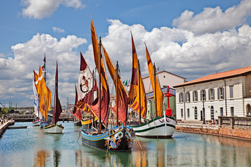 Wall Murals Ship Cesenatico, Emilia Romagna, Italy: the port canal with the ancient sailing boats