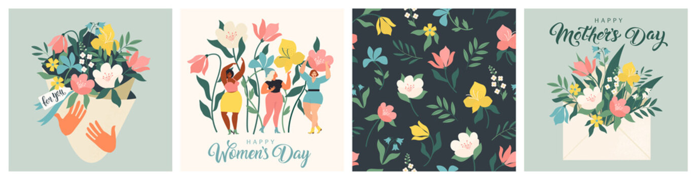 Happy Womens Day March 8 Cute cards and posters for the spring holiday. Vector illustration of a date, a women and a bouquet of flowers.