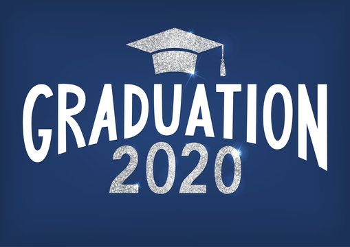 Graduation 2020. Lettering with silver glitter cap and year. Vector illustration on blue background.