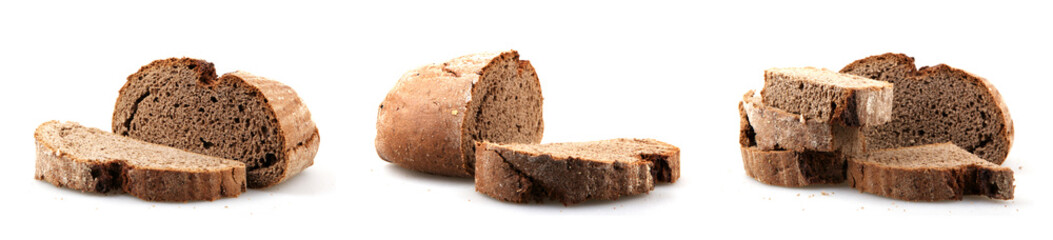 Foto auf Acrylglas Brot Fresh black sliced bread on white background. Rye bread is a type of bread made with various proportions of flour from rye grain.