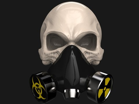 Skull with biohazard and radiation protective mask on