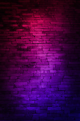 Neon light on brick walls that are not plastered background and texture. Lighting effect red and blue neon background of empty brick basement wall.