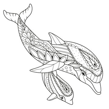 Antistress coloring book Dolphin with baby Dolphin in Zen style