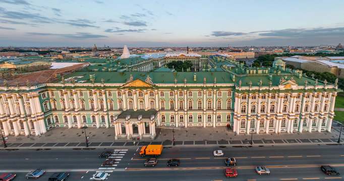 Panoramic aerial view of the Palace Embankment, St. Petersburg, Russia