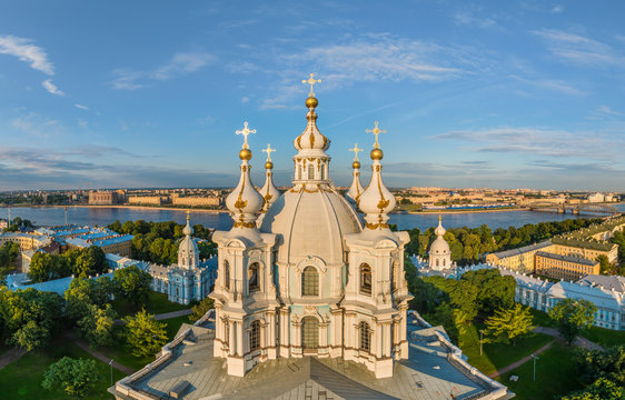 Aerial view of the Smolny Cathedral, St. Petersburg, Russia