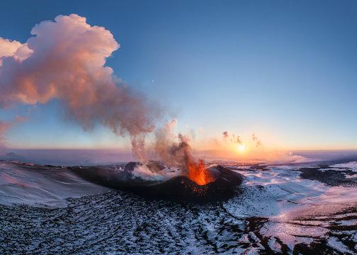 Aerial view of Tolbachik volcano eruption