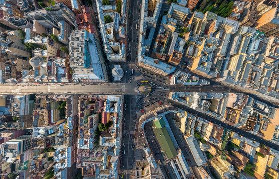 Aerial view of Vosstaniya Square, St. Petersburg, Russia