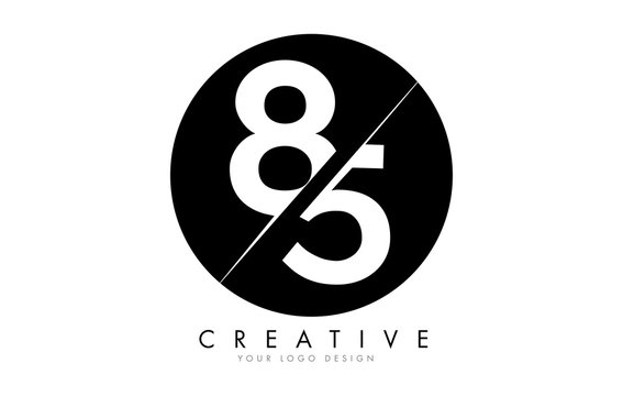 85 8 5 Number Logo Design with a Creative Cut and Black Circle Background.