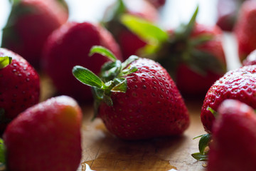 Close up view of strawberries