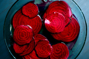 Close up of pickled beets in bowl