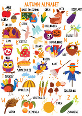 Stylish autumn alphabet in vector. Lovely animals and items. Best abc-poster in a colorful style for children education and language study.