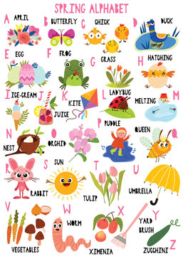 Stylish spring alphabet in vector. Lovely animals and items. Best abc-poster in a colorful style for children education and language study.