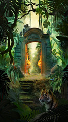 Beautiful dreamy tropical landscape with ancient gate, jungle with tiger, snake and monkeys