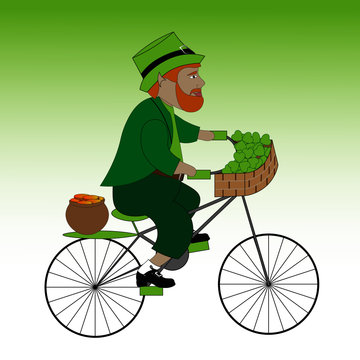 Happy Leprechaun rides a Bicycle. He is carrying a pot of gold coins and Shamrock leaves in a wicker basket. Good as St. Patrick's day design.
