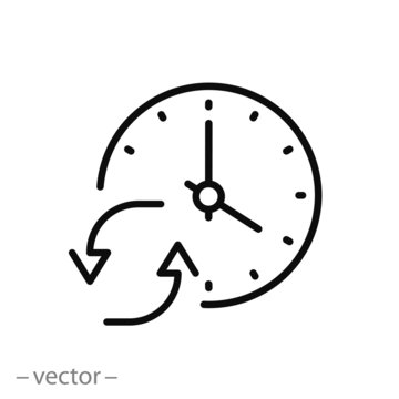change or update date icon, forward or back time on clock, reverse time, thin line web symbol on white background - editable stroke vector illustration eps10