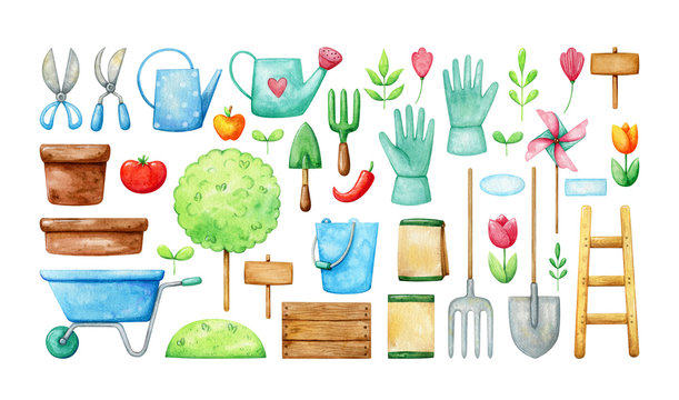 Garden equipment tool set in beautiful simple watercolor. Colorful gardening collection.