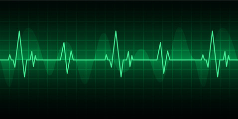 green Heart pulse monitor with signal. Heart beat. ekg icon wave
