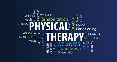 Physical Therapy Word Cloud on a Blue Background