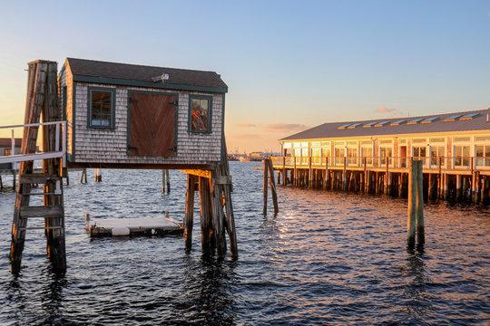 Newport Rhode Island - winter landscape at sunset