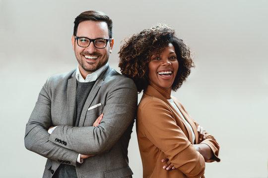 Portrait of multi ethnic business couple